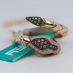EFFY 14k Rose Gold Round Diamond Snake Ring